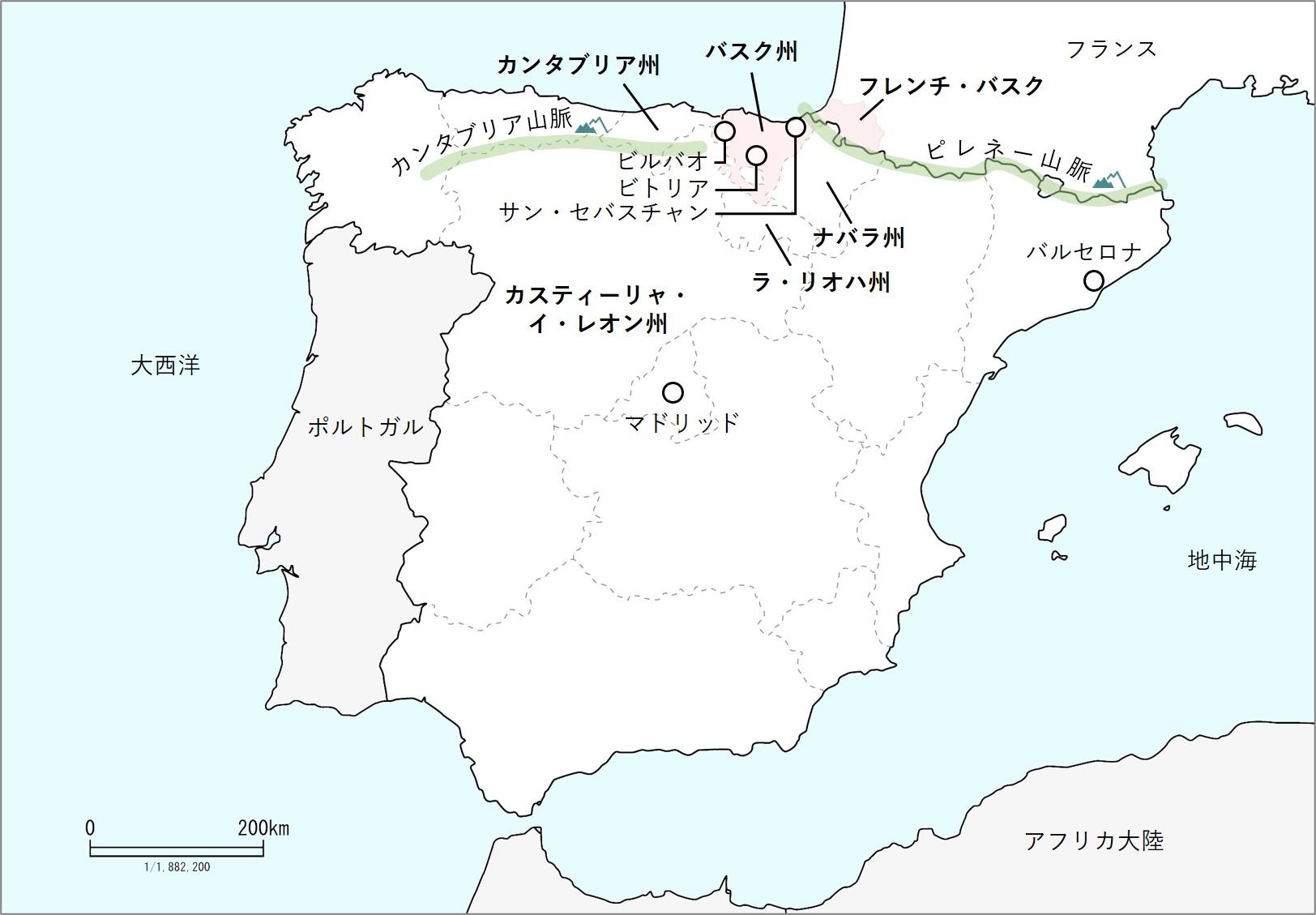 バスクの地図