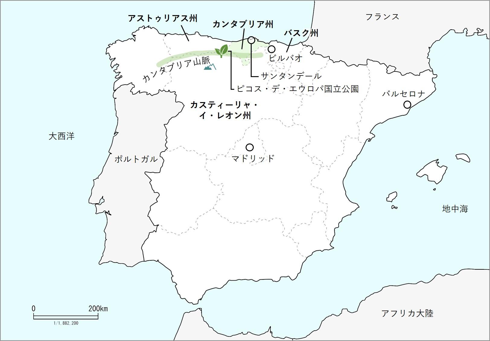 カンタブリアの地図
