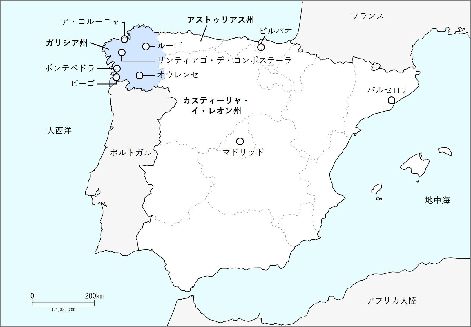 ガリシアの地図