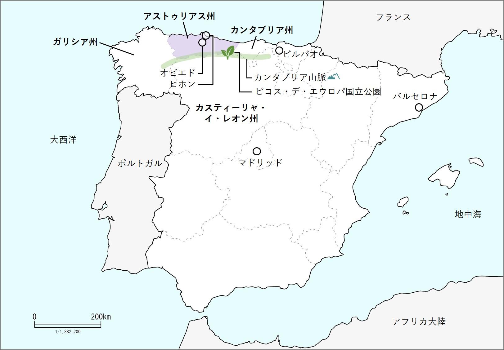 アストゥリアスの地図