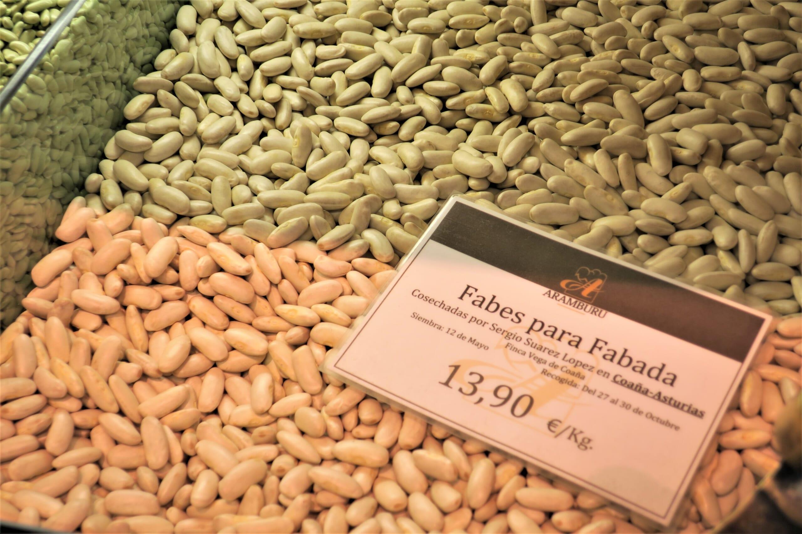 北スペインのアストゥリアスの白インゲン豆